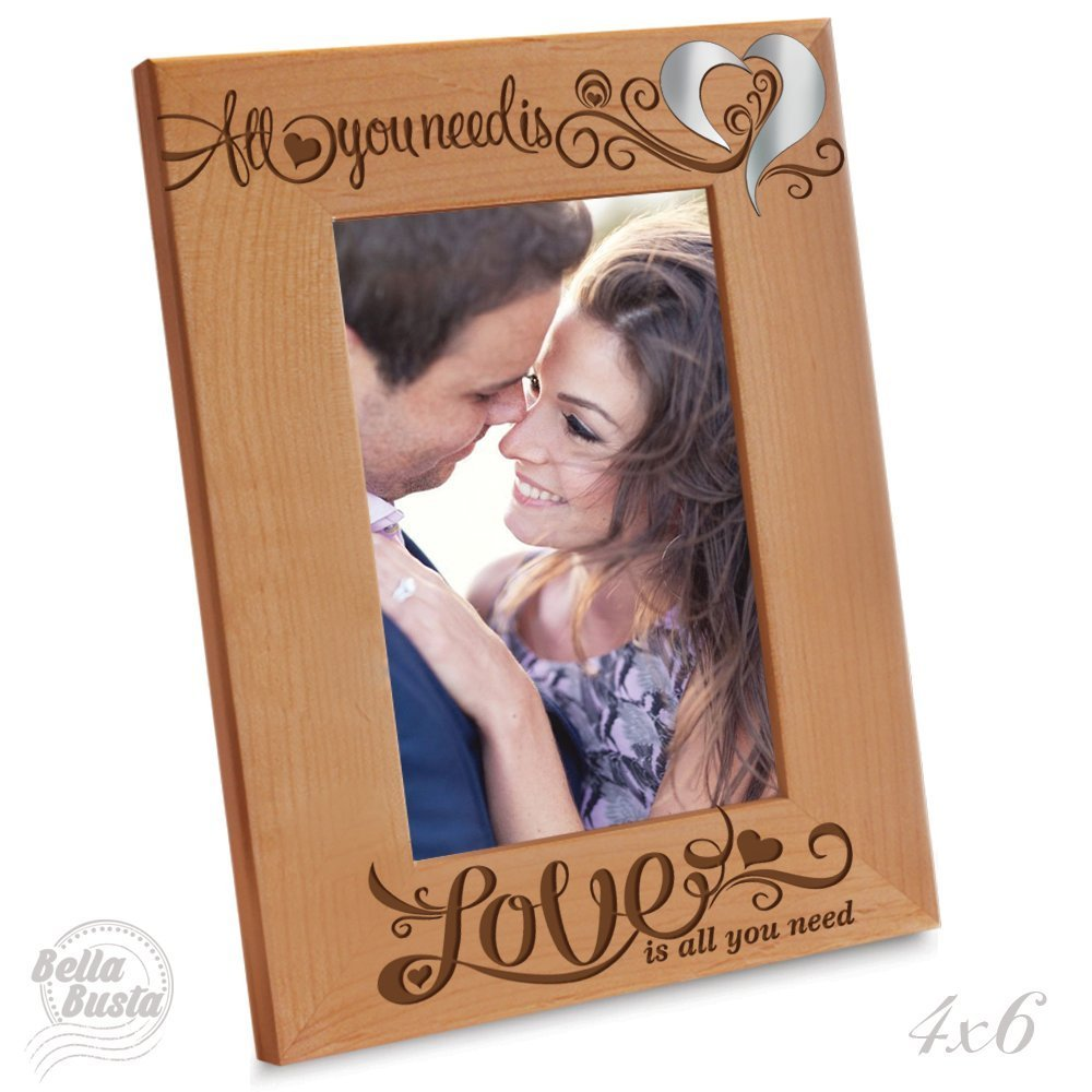 "Bella Busta- ""Special Edition"" All you need is love, love is all you need Picture Frame- Engraved Natural Wood Picture Frame with ""special edition"" Mirror Acrylic Piece Integrated (4"" x 6"" Vertical)"
