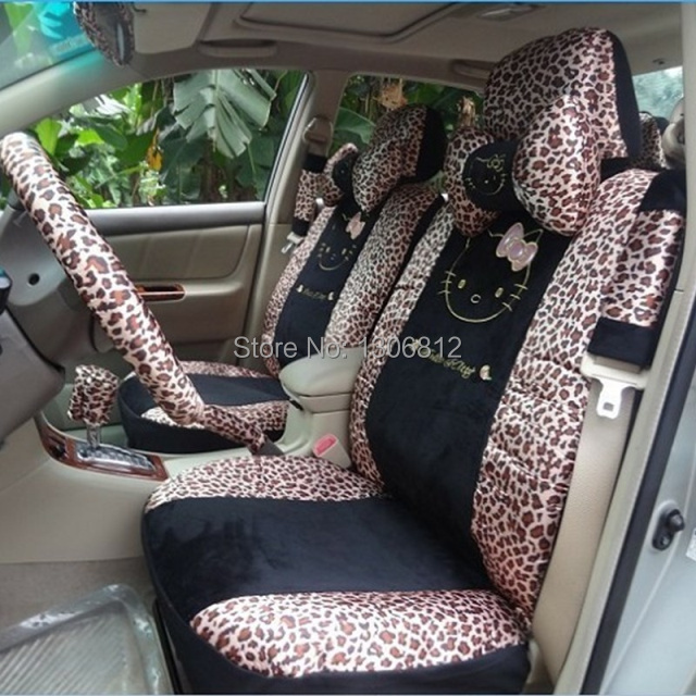 Free shipping new 18 pcs hello kitty universal leopard - Hello kitty car interior accessories ...