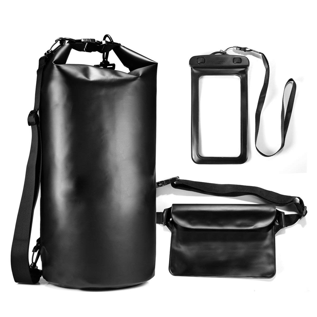 WINOMO 20L Multifunctional Bucket Bag Suit Outdoor Camping Swimming Rafting PVC Waterproof Dry Bag with Waist Bag Phone Waterproof Bag (Black)