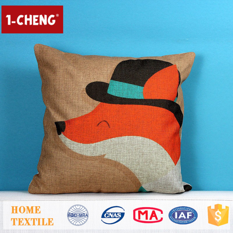 Hot Sale Creative Cooling Fox Pattern Printing Design Cushion,Sofa Decor Throw Pillow Cover, The Pillow Case Can be Customized