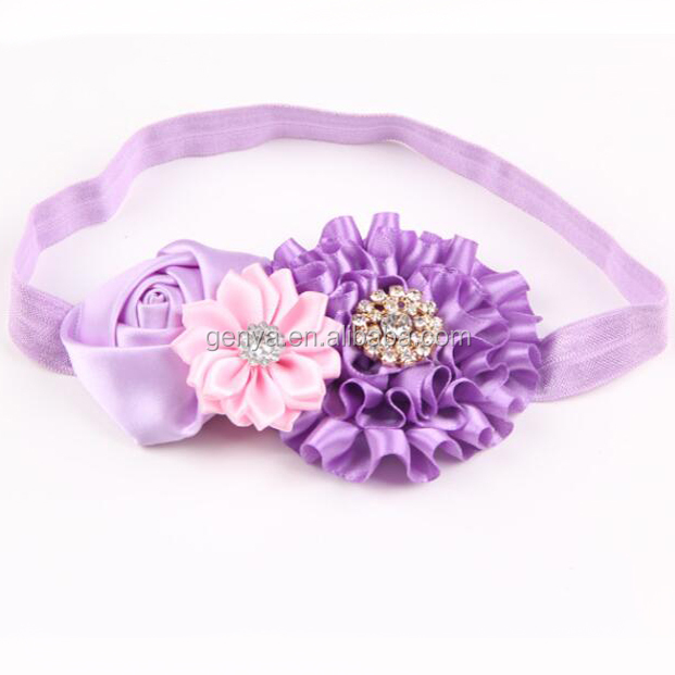 Fancy floral halo infant Wrinkle flowers hair flowers with elastic hair bands