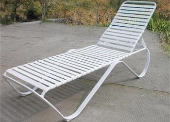Superior Aluminium Alloy And PVC Belt Sun Lounge / Sun Bed HL C 07