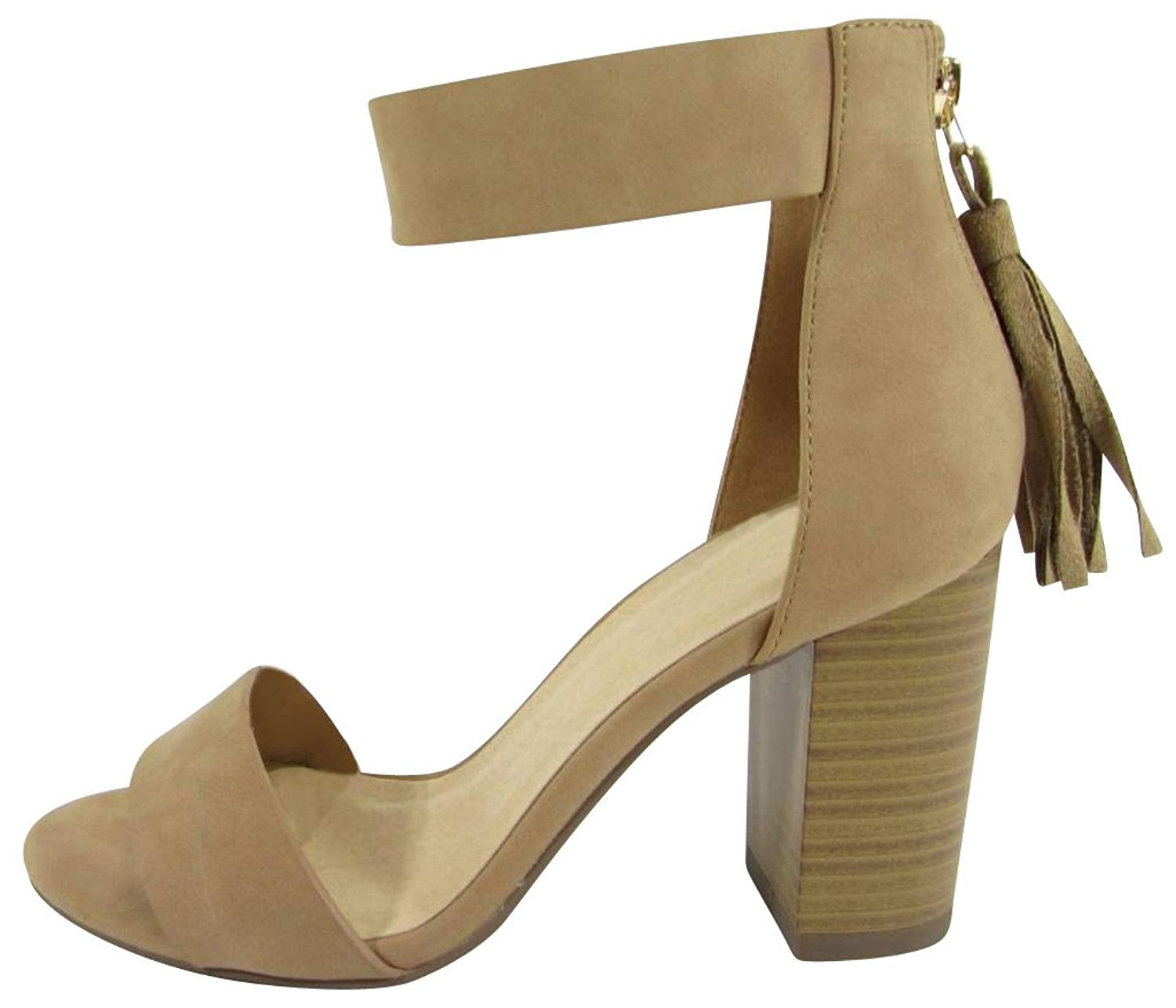 7c34b308e441 Get Quotations · Cambridge Select Women s Open Toe Single Band Thick Ankle  Strap Back Zip Tassel Chunky Stacked Block
