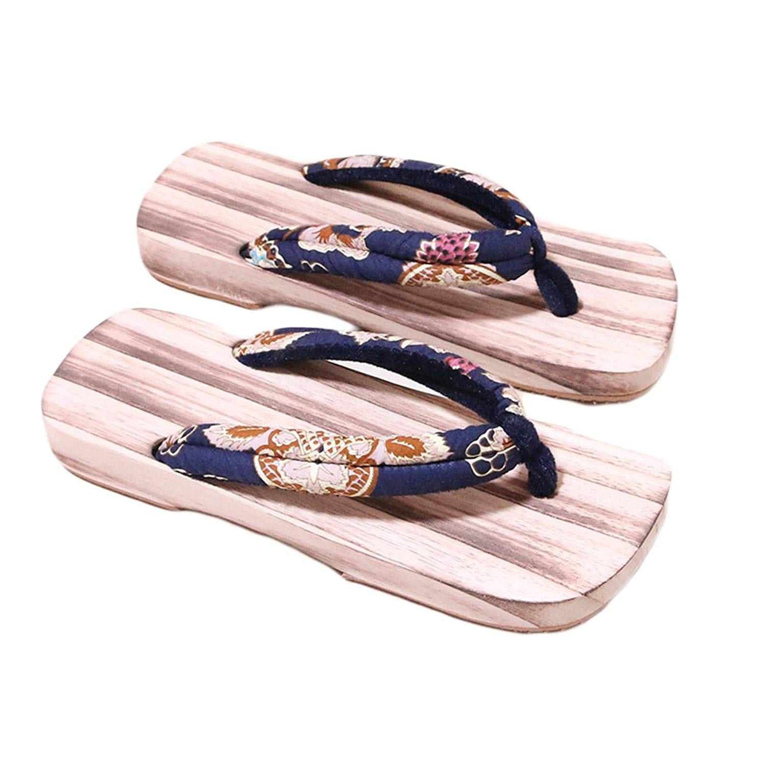 f19f3e1d2876 Get Quotations · BeddingHome Women s Japanese Style Wooden Geta Clogs  Floral Print Summer Antiskid Sandals 2018
