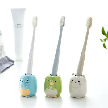 Single Unique Funky Ceramic Tooth Brush Stand Toothbrush Holder with Animal Design for Children Kids Bathroom Storage Organizer
