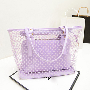 Top Hot Sale Womens 2in 1 PVC Jelly Bag Beach Shopper Tote Transparent Shoulder Large Handbag