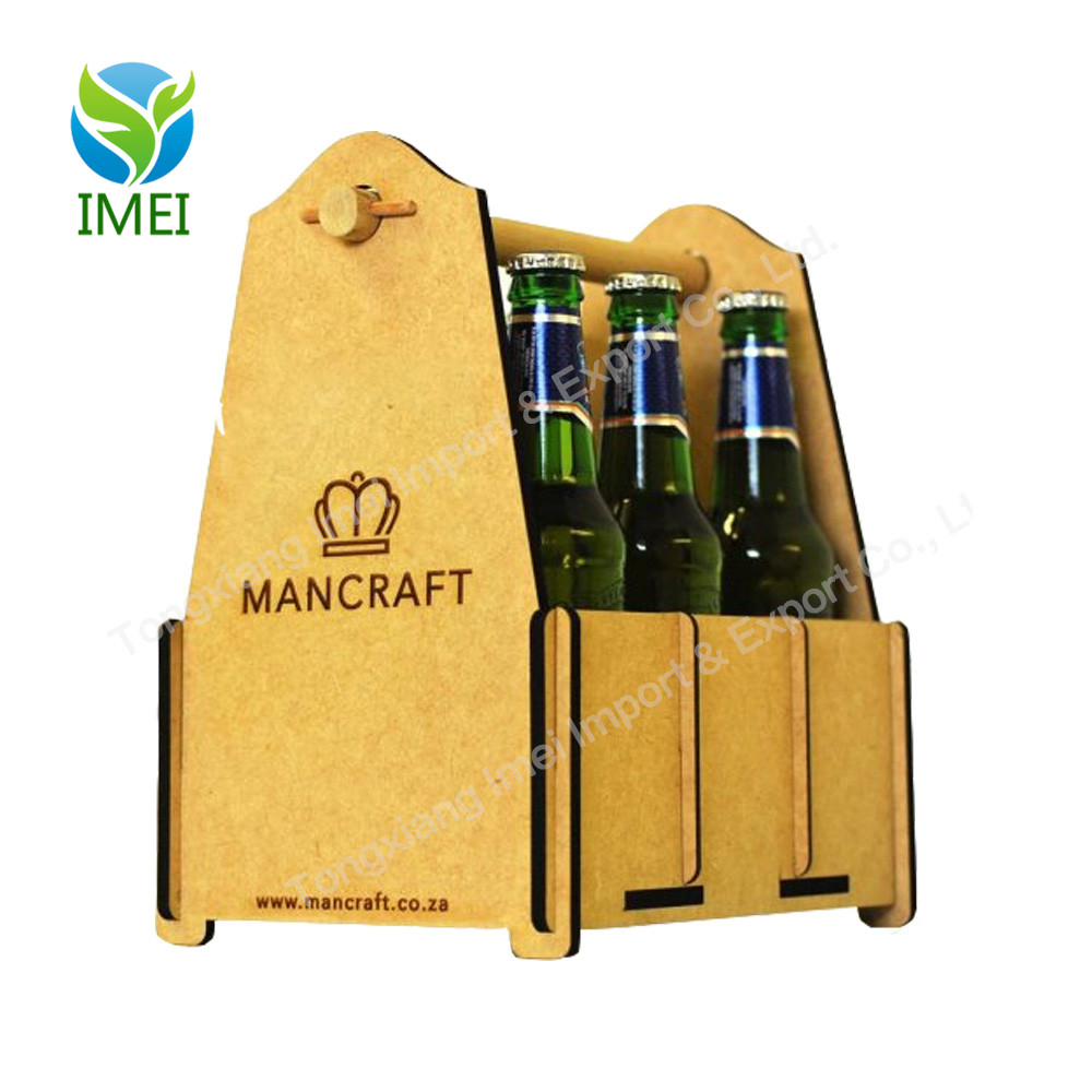 6 pack wooden wine / beer bottle insulated holder for hotel