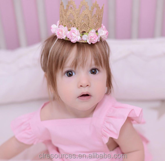 2016 new design lace children's crown hairband baby hair headband girls wholesales
