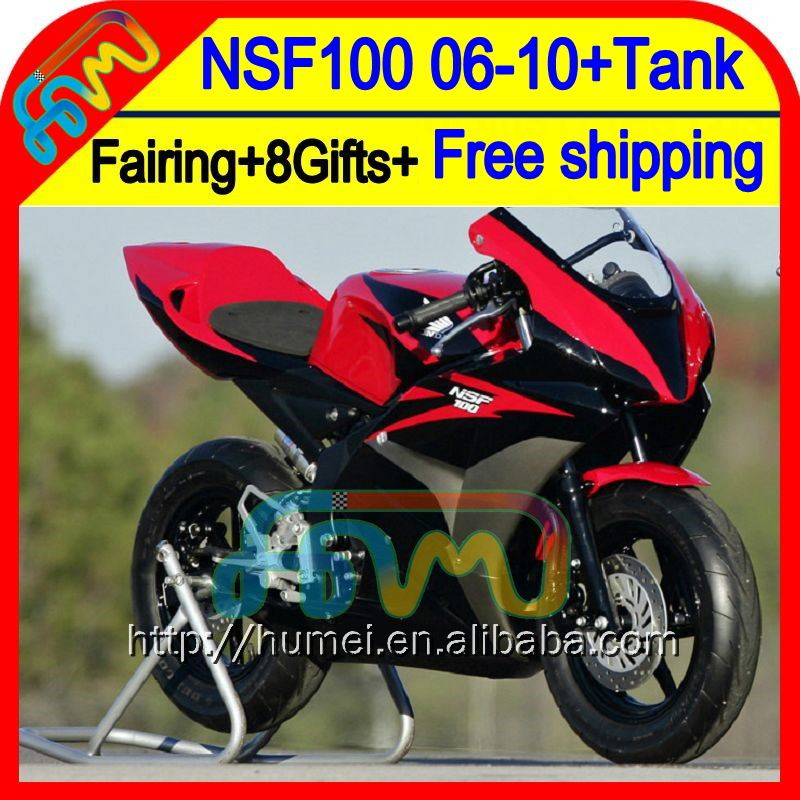 8Gift Red black For HONDA NSF100 06-10 NSF 100 63HM4 NSF-100 06 07 08 09 10 Red grey blk 2006 2007 2008 2009 2010 Race Fairing
