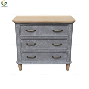 Concrete Look Grey 5 Drawer Cabinet Industry Living Room Furniture