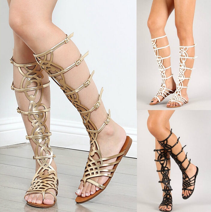 dea0aebca1139 2015 SPRING GOLD BLACK FRETWORK KNEE HIGH BOOTS BUCKLE STRAPPY GLADIATOR  SANDALS BOOTS FLAT LEISURE RIDING BOOTS THONG SANDALS-IN WOMEN S BOOTS FROM  SHOES ...