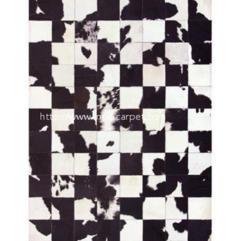 cow skin rug patchwork customized black and white color