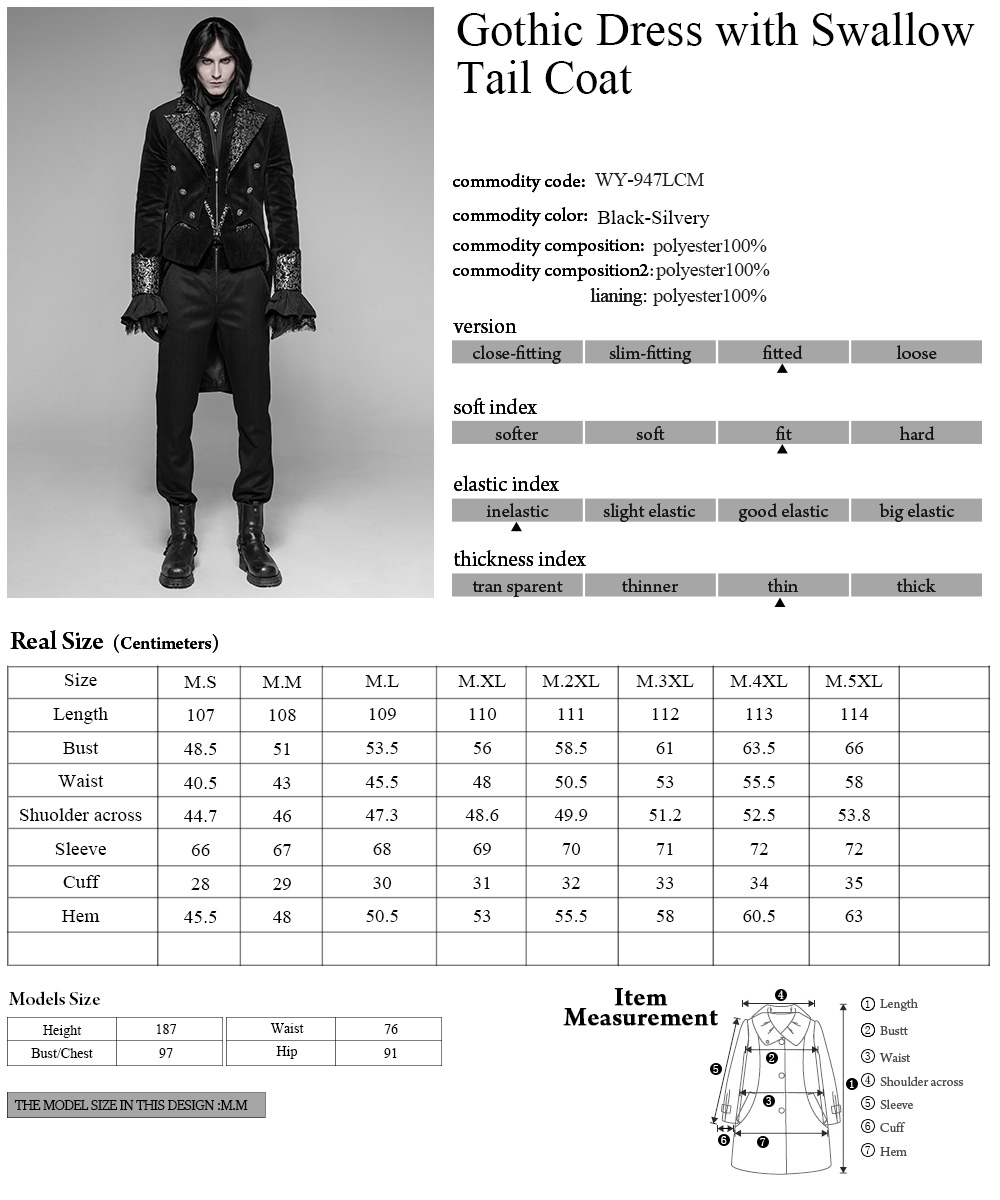 WY-947 Gothic Dress with Swallow Tail Coat  fabric Coats men