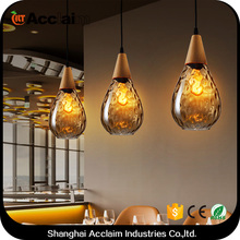 Simple color changing solar crackle glass ball led light in bali chandeliers with fan for buffet