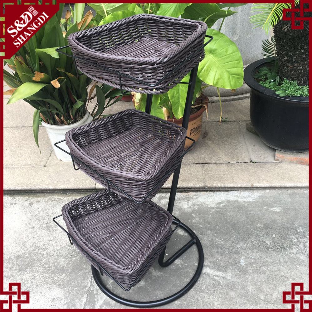 100% Handmade woven plastic rattan fruit and vegetable storage baskets