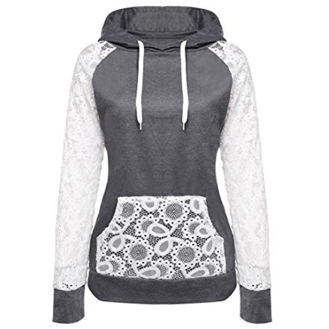 Women Patchwork Hooded Pullover Hoodie,Loveberry Womens Lace Patchwork Hooded Sweatshirt Pullover Hoodie Coat Outerwear Tops (Dark Gray, L)