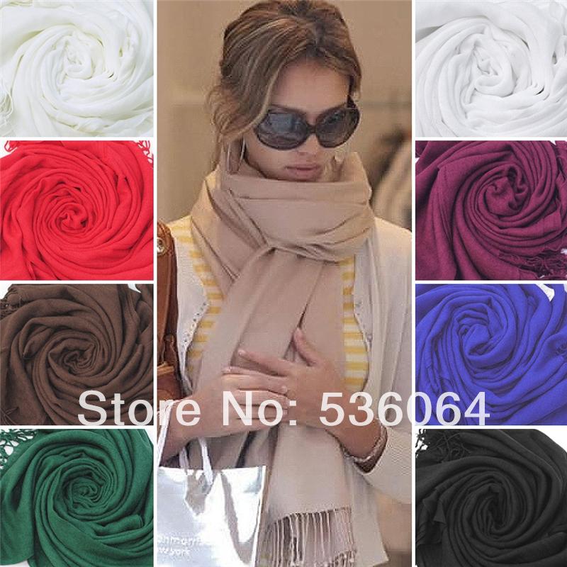 Женщин модный шарф обруча шерсть мягкая теплый длинный большой шали кистями