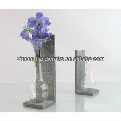 Decorative round bottom glass jar shape flower vase with wooden stand