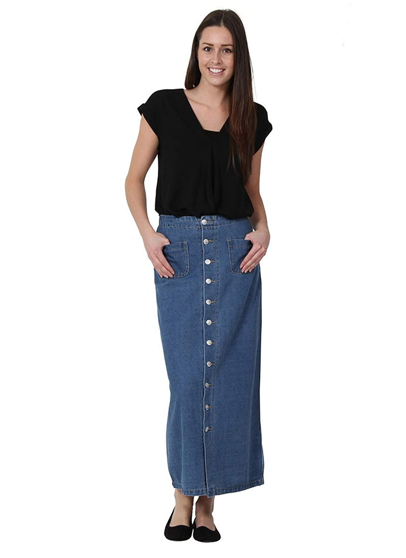 656889005b Get Quotations · Simply Chic Long Stonewash Denim Skirt Maxi Skirt Full  Length Denim Skirt Jean Skirt Button