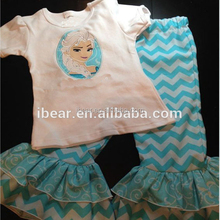 2016 Baby Girls Frozen Shirt and Ruffle Pants set Short Sleeve white Tee T-shirt Shirt & Blue Chevron Ruffle Pants Boutique set