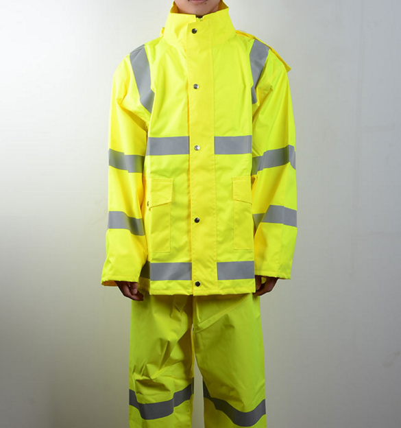 Safety high visibility Reflective rain coat with pants suits working uniform outdoor safety uniform with reflective tape