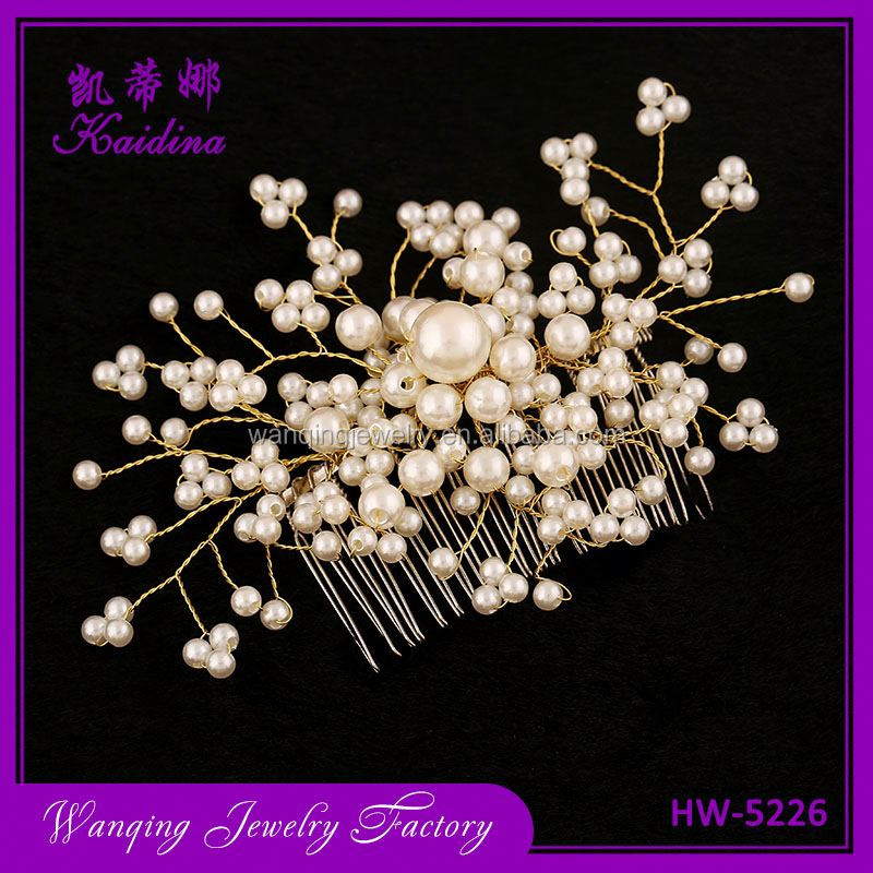 Hot selling full pearl gold branches bridal women comb accessories jewelry