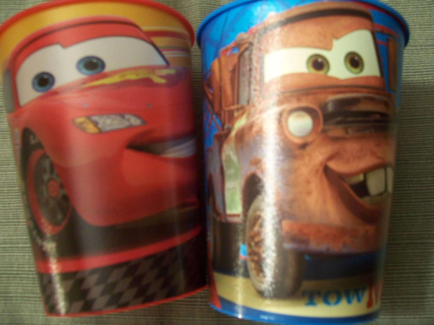 Disney Cars 2 Set of 2 Plastic Cups ~ Lightning McQueen & Tow Mater