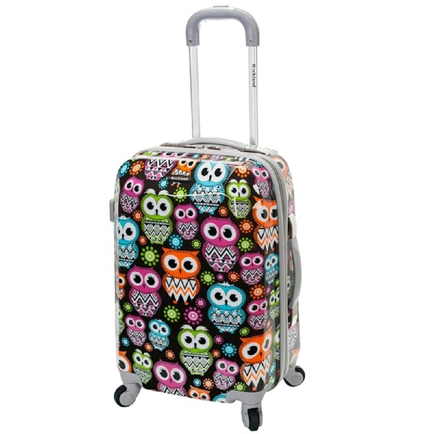 3d5118bb4f5 Get Quotations · DSOS Girls Cute Owl Flower Themed Carry Suitcase Kids  Hardtop Rainbow Floral Luggage