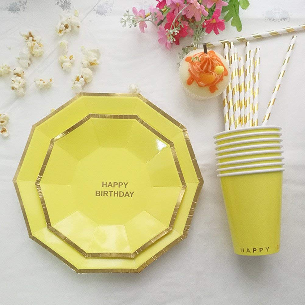 Lavenz Golden Striped Happy Birthday Disposable Tableware Set Paper Plates Cups Straws Birthday Party Carnival Tableware Supplies