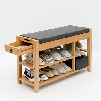 Door Entryway bamboo shoe bench with seat cushion and drawer 2 Tier Shoe Rack Organizer for shoe and boot