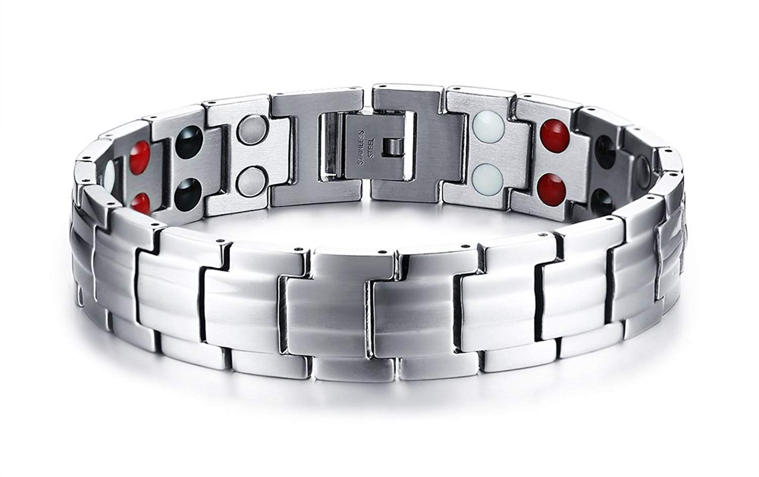 MPRAINBOW Stainless Steel Double Row Healthy Body 4 in 1 Magnetic Therapy Healing Masonic Bracelet 21.5cm