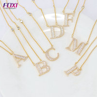 Wholesale zircon initial alphabet gold letter necklace