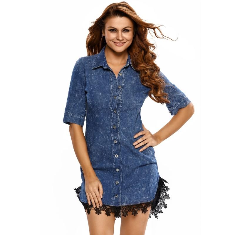 541dc3770 Damas Formal Trim botón abajo camisa las mujeres Denim y encaje vestido de  camisa T v22439