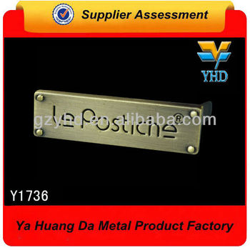 wholesale custom zinc alloy bag plate