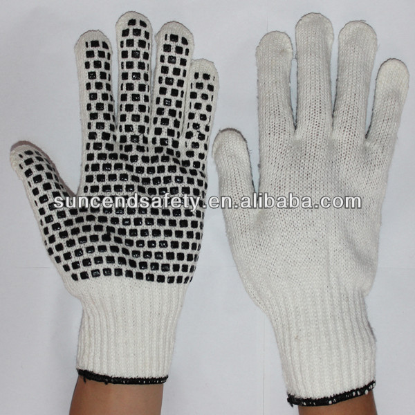 7G Bleach Cotton And Polyester String Knitted Work Glove With Black PVC Dots On Plam