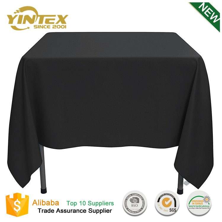 Yintex 70 inch square solid new design elegant pleated wedding tablecloths