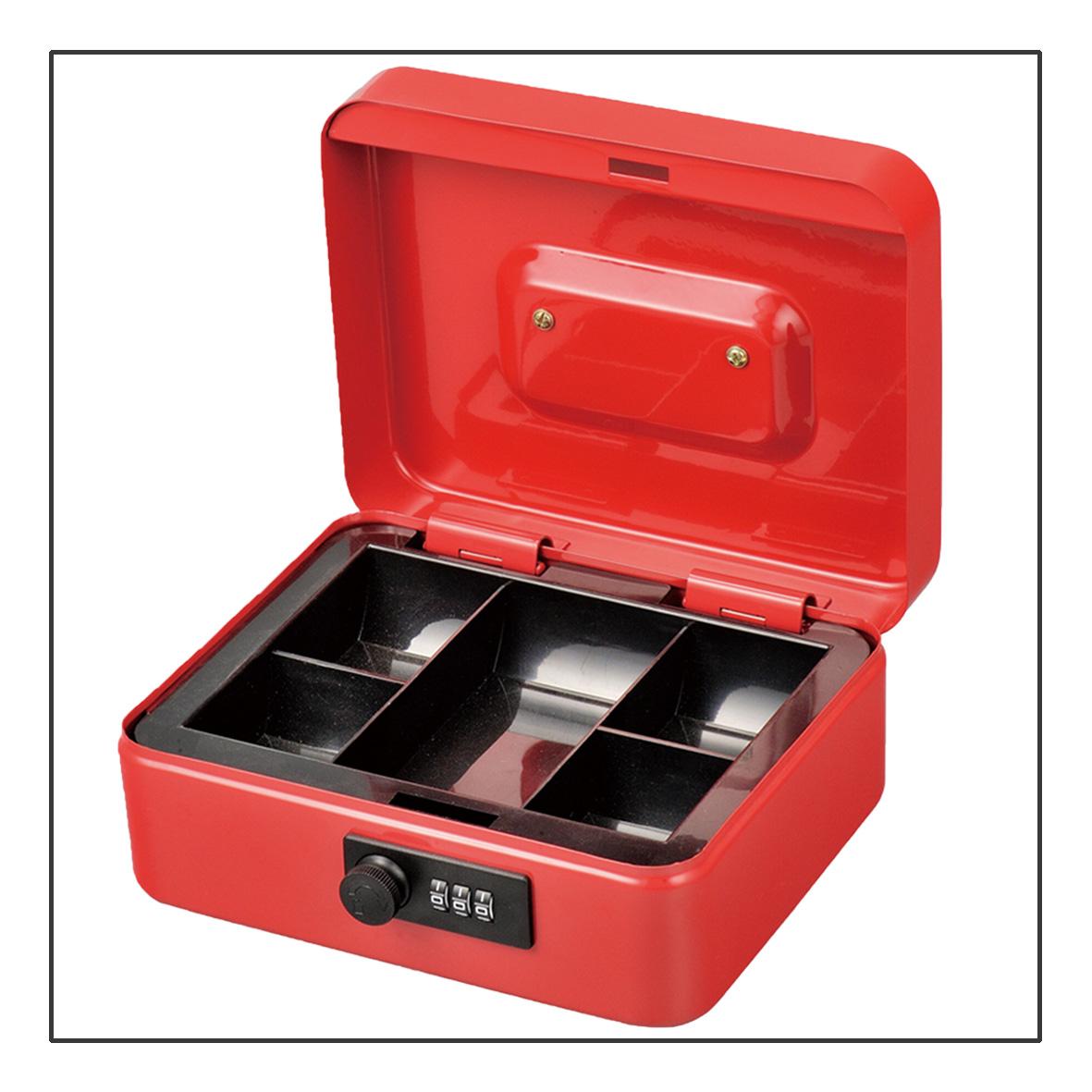 Loja de casa e escritório de segurança fechadura com chave de metal portátil de aço inoxidável tecnologia seguro cash money box com bandeja