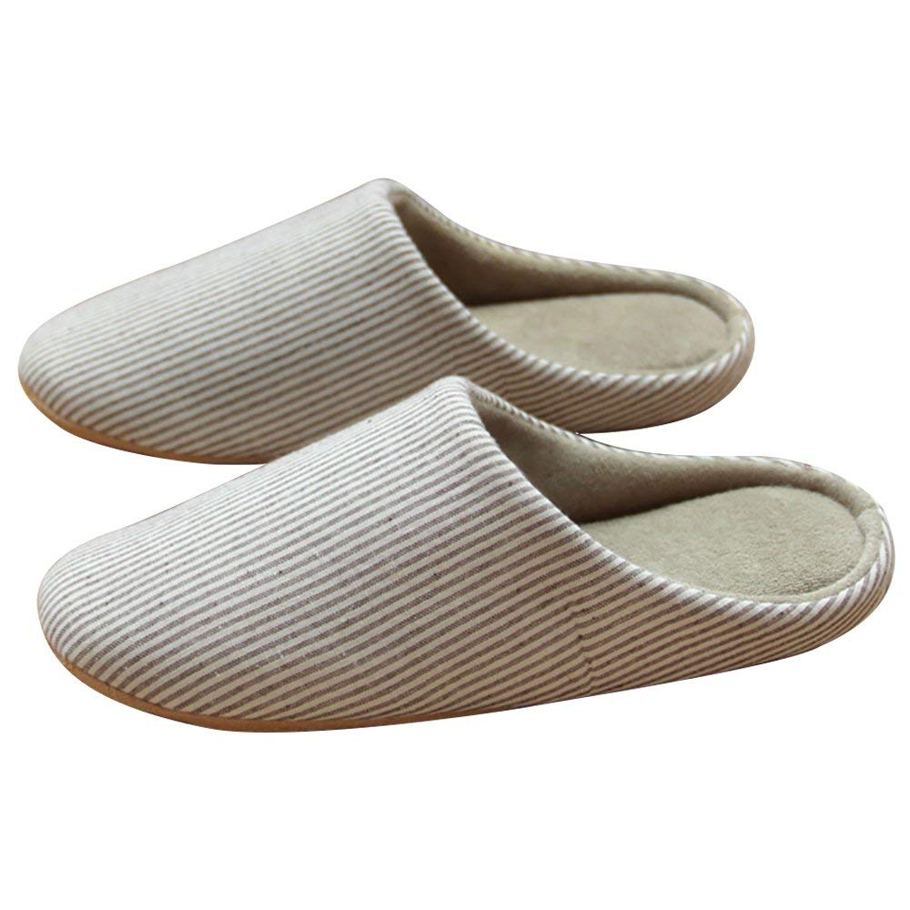 ZENICHAM Women Comfortable Cotton Slippers Washable Flat Closed Toe Indoor Shoes with Non-Slip Sole