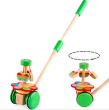 Cartoon Wooden Baby Toddler Toy Trolley Bouncer Learn Walk and Play Push car Activity Toy