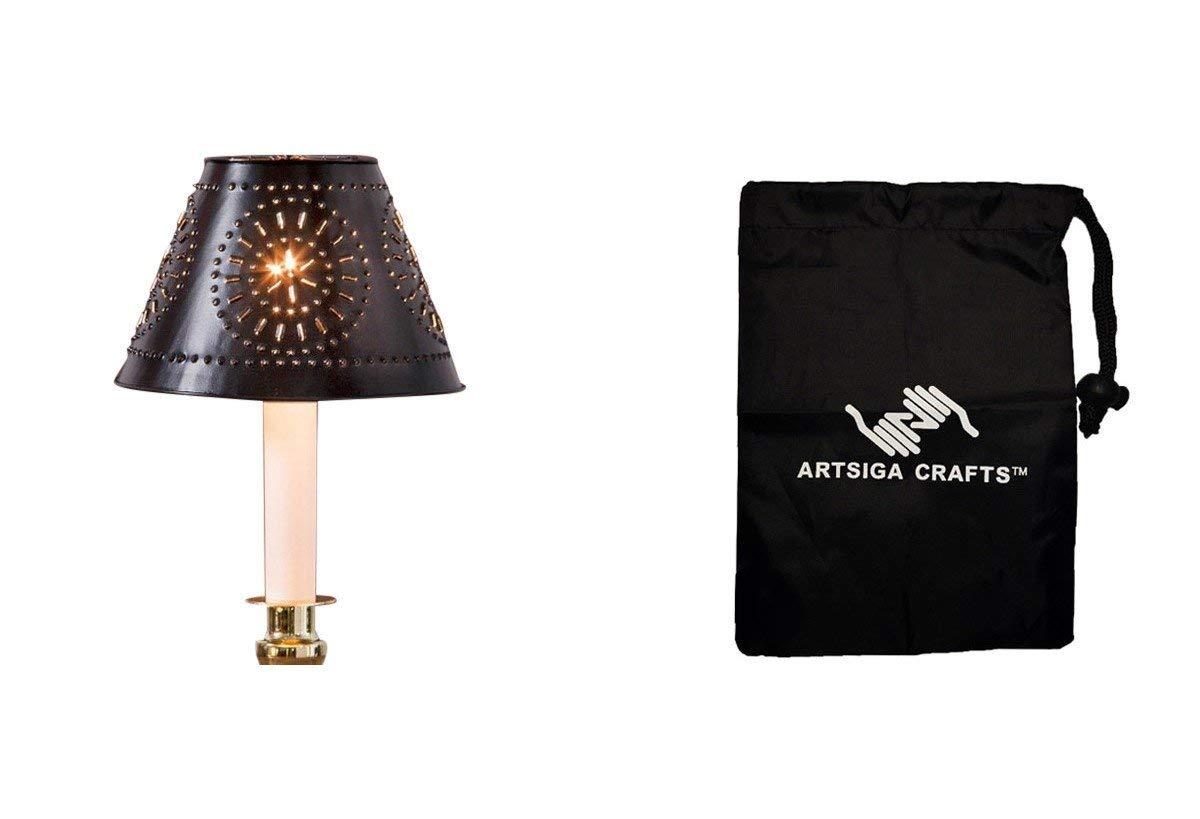 Darice Lamp Shade Metal Punch Design Round 5.5X3.7 Punch Design Black (3 Pack) 30009025 Bundle with 1 Artsiga Crafts Small Bag