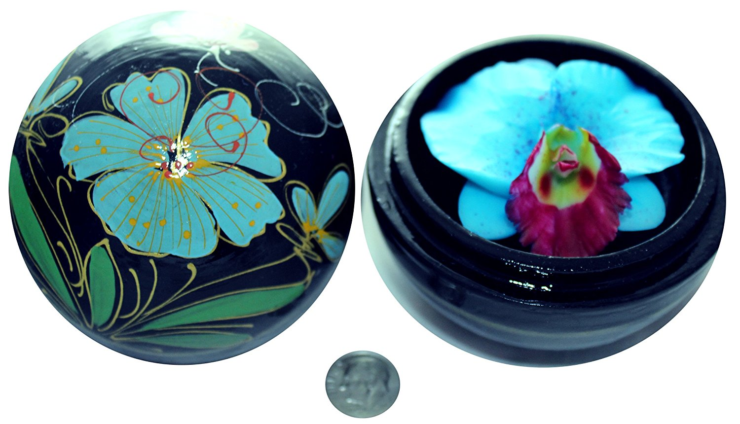 PureCachet Beautiful Thai Hand-Carved Scented Orchid Flower Soap in a Luxurious Hand-Painted Mango Wood Container (Blue)