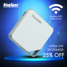 KingSpec MiFee AW 32GB 64GB Wireless Portable External Hard Drive - WIFI USB Flash Drive for iPhone, Samsung, Android, etc.