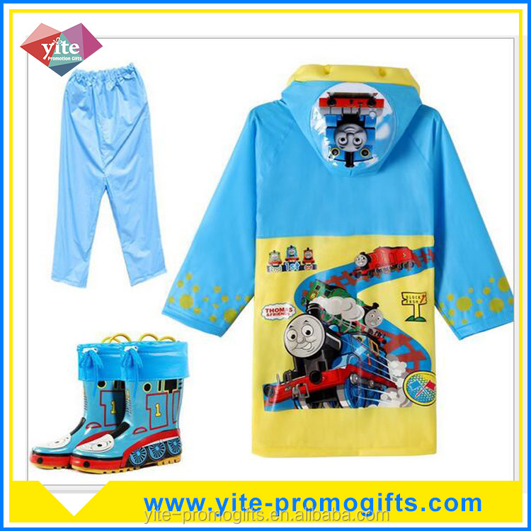 Customized High quality Kids raincoat with pants and rainshoes set