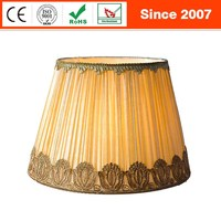 European handicraft cone pleated faux silk fabric metal lampshade