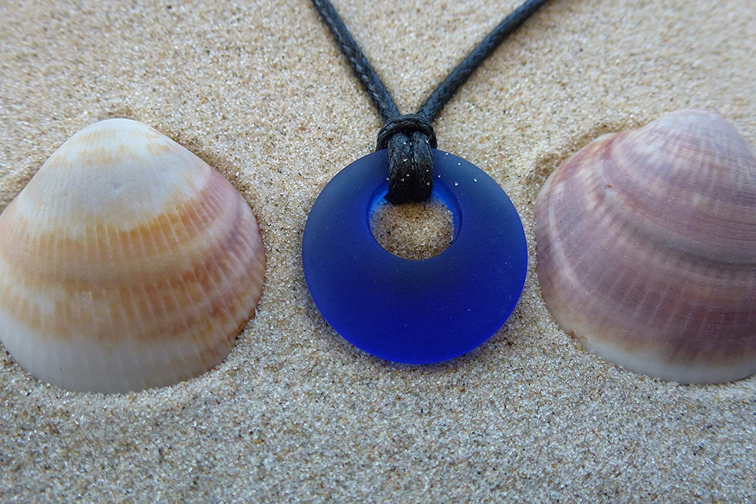 Ocean mystery surf beach sea glass mermaid small 0.5 inch donut shape small beautiful pendant blue handmade necklace, aqua unisex jewelry on a waxed cotton 24 inch cord with recycled sea glass