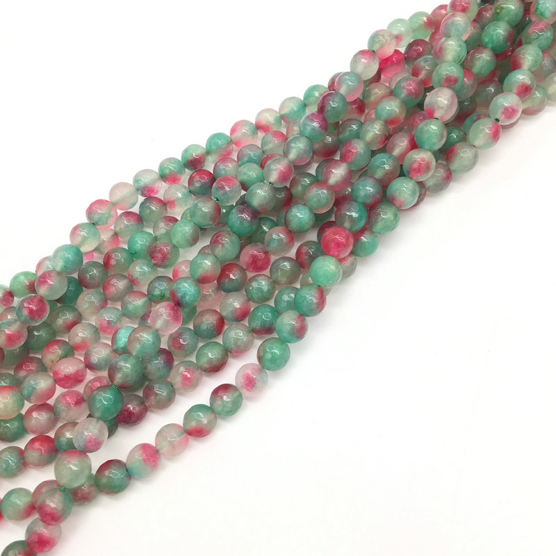 beauty natural gemstones jade stone 8mm faceted round stone jewelry beads