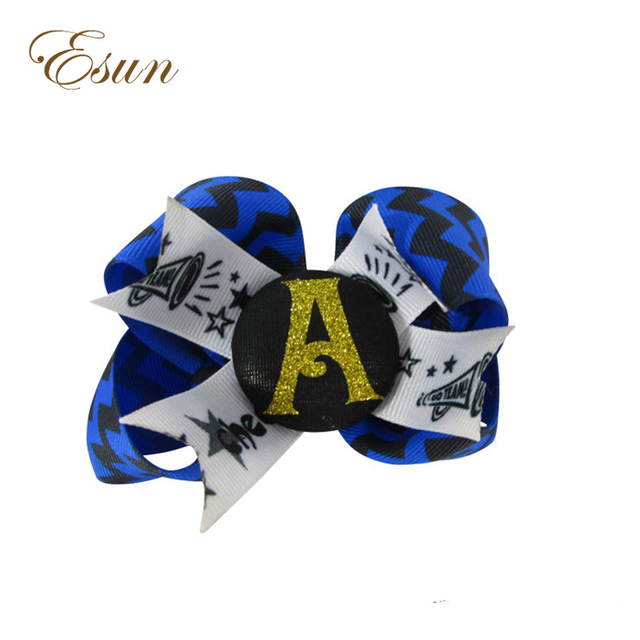 New Arrival School Girls Personalized Initial l Custom Colors Glitter Cheer Hair Bow