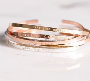 Stainless steel Inspirational Message bangle Personalized Hand Stamped Unisex cuff Bangles