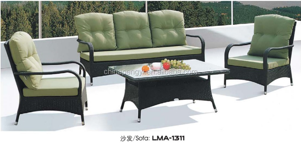 Luxury green wicker garden sofas rattan patio furniture