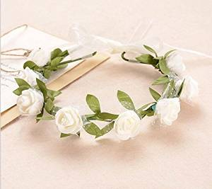Cheap white flower for hair wedding find white flower for hair get quotations luckystaryuan bridal flower leaf wreath wedding hair headbands white mightylinksfo